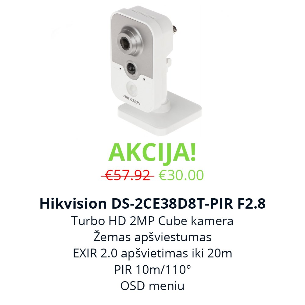 Akcija Hikvision DS-2CE38D8T-PIR F2.8