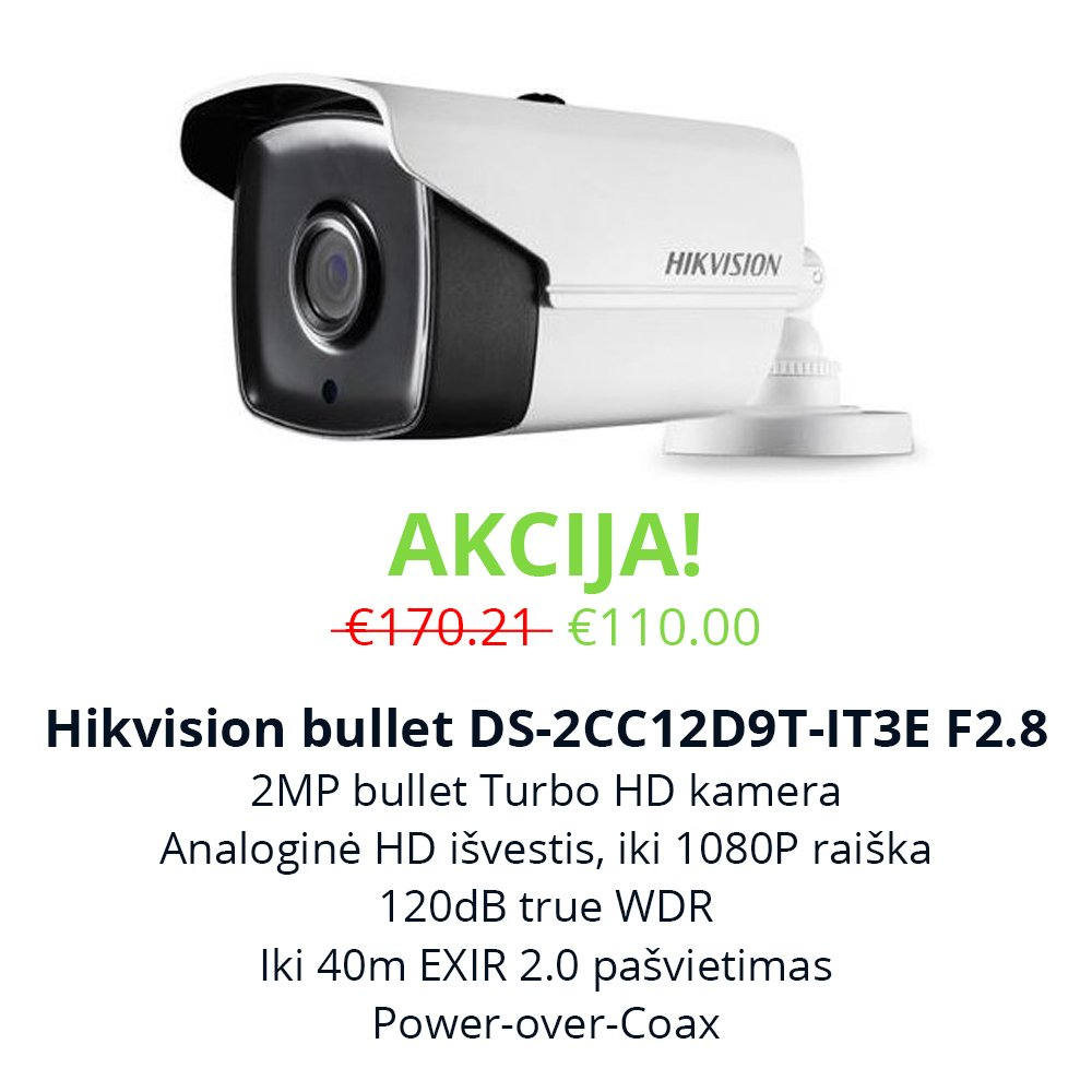 Akcija Hikvision bullet DS-2CC12D9T-IT3E F2.8