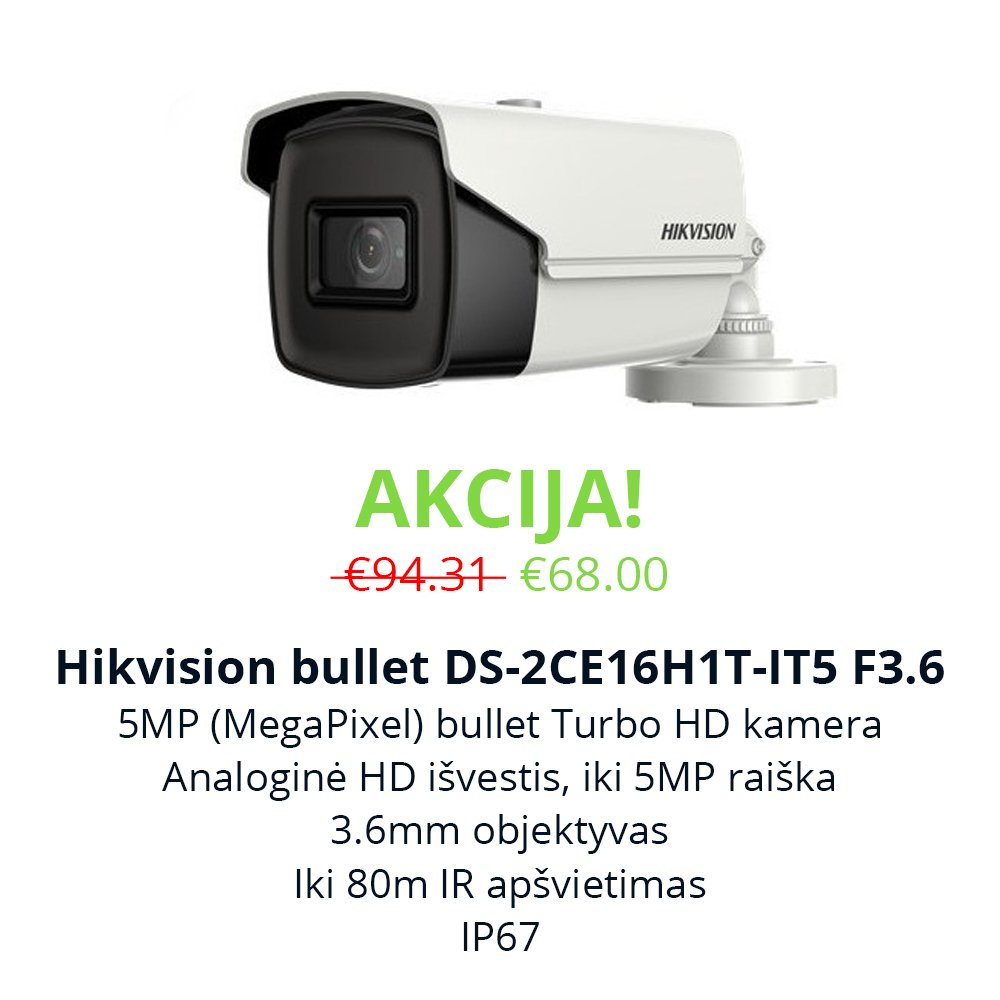 Akcija Hikvision bullet DS-2CE16H1T-IT5 F3.6